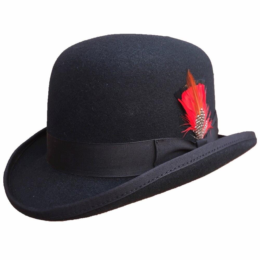 FREE SHIPPING/ Black Men's Wool Felt Derby Hat Bowler Hats