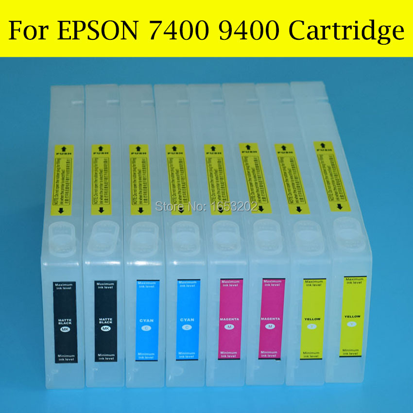 8 Pieces/Lot High Quality Empty Ink Cartridge For Epson Stylus Pro 7400 9400 Printer With Resettable Chips And Resetter chip decoder for ep stylus pro 7400 9400 printer