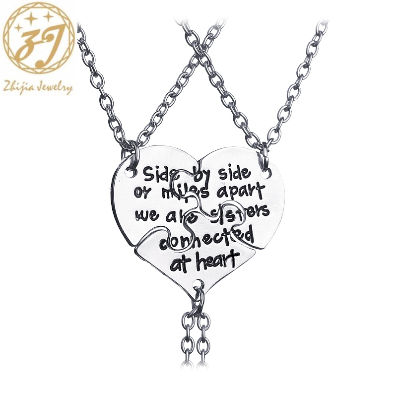 Zhijia side by side or miles apart we are sister connected at heart <font><b>BFF</b></font> <font><b>Necklaces</b></font> <font><b>For</b></font> <font><b>3</b></font> Best <font><b>friend</b></font> <font><b>Necklace</b></font> <font><b>for</b></font> friendship image
