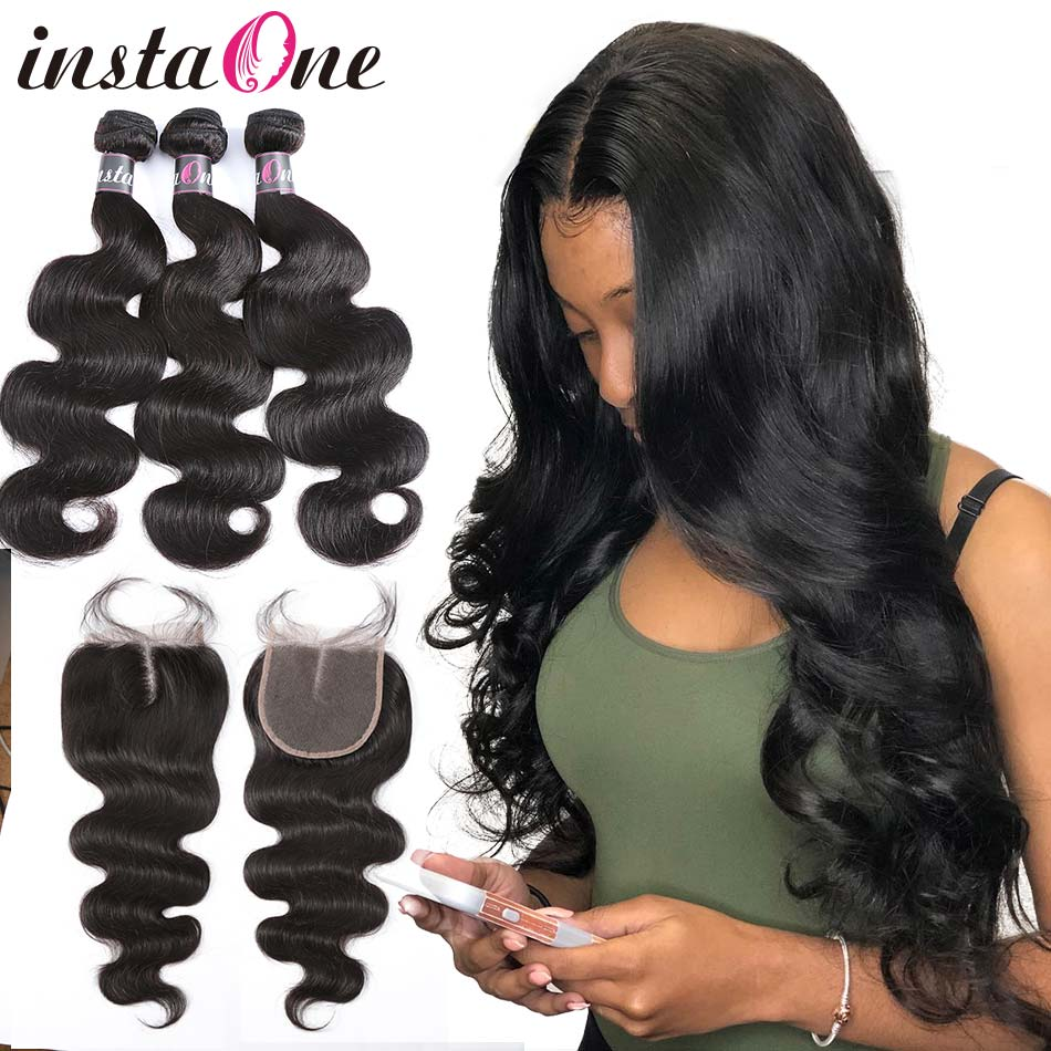 Instone 7A Brazilian Hair Weave Bundles With Lace Closure Raw Virgin Body Wave 100 Human Hair