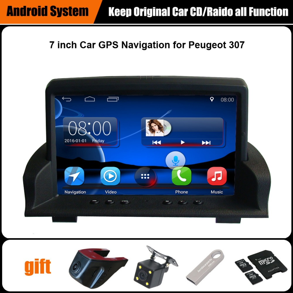 upgraded original android car multimedia player car gps navigation suit to peugeot 307 support. Black Bedroom Furniture Sets. Home Design Ideas