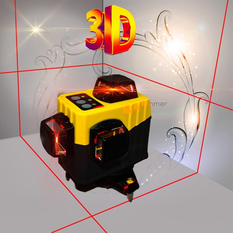 Petit Forte Rouge 12-Fil Laser 3D Mur Moniteur 360-degré Automatique Inclinaison Horizontale Fonction 6 Vertical Crossover