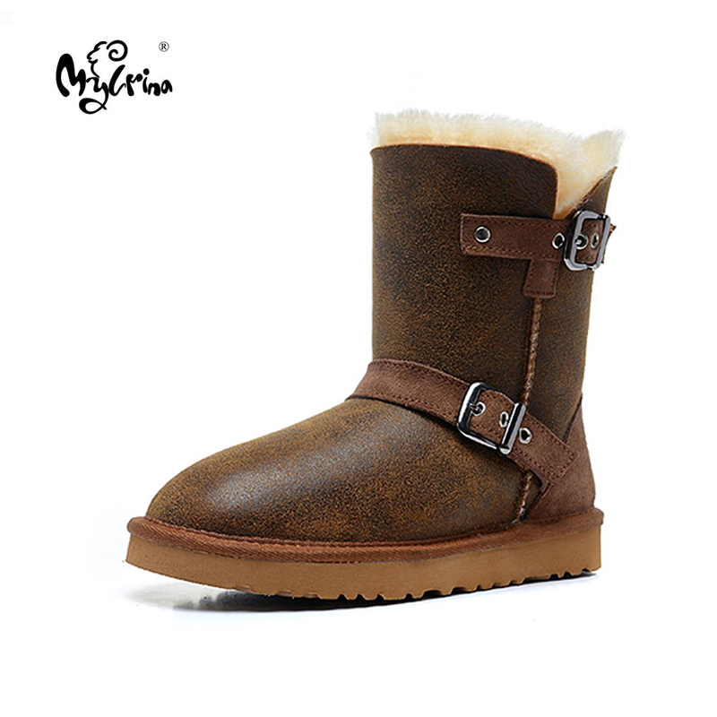 New Fashion Women Snow Boots Genuine Sheepskin Leather Snow Boots 100% Natural Fur Winter Boots Warm Wool Women Boots