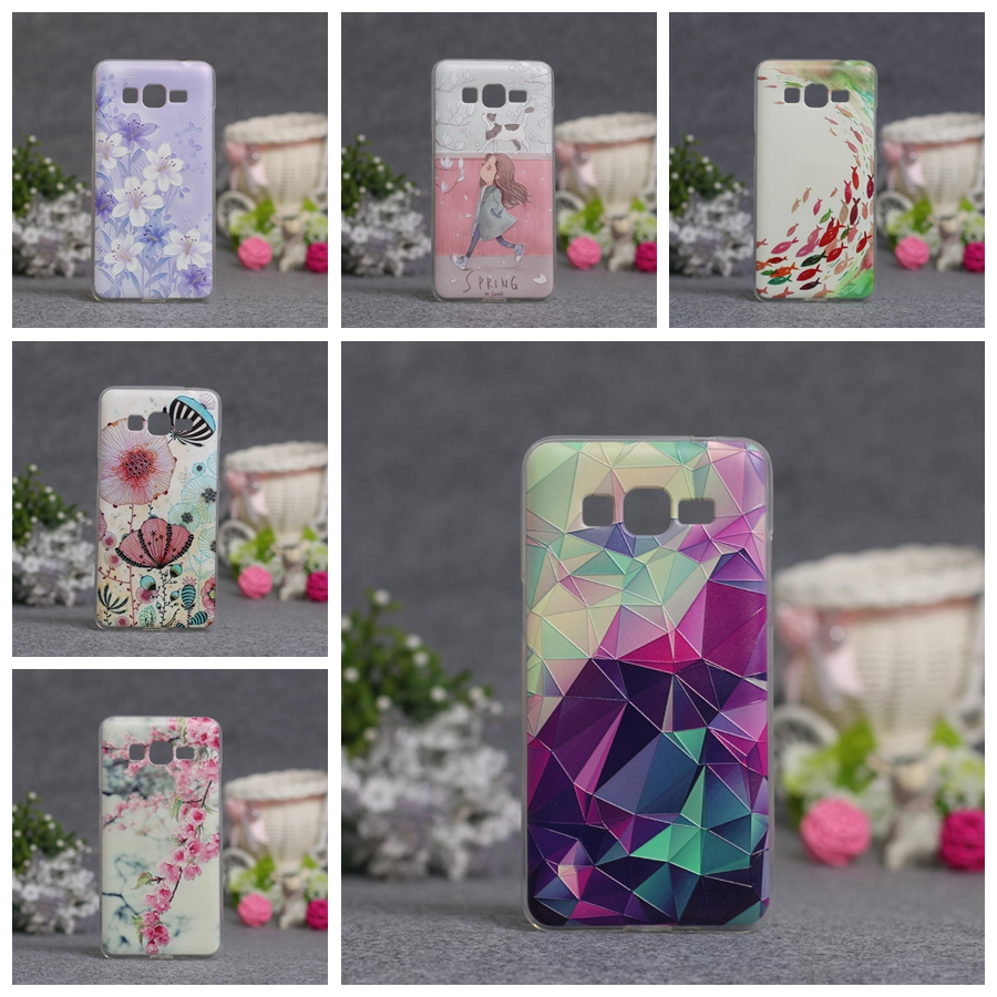 3D Relief Flower Phone Case Cover For Samsung Galaxy Grand Prime Duos G5308 G530H G5306W G5309W G531F G530 G531 Soft TPU Cases