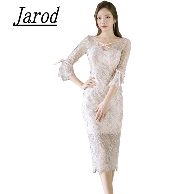 2a689719ad29b Spring Women Dress V Neck Three quarter Sleeve 2018 Vintage Lace Dress Sexy  Party Club Bodycon sheath Dresses Vestido-in Dresses from Women's Clothing  ...