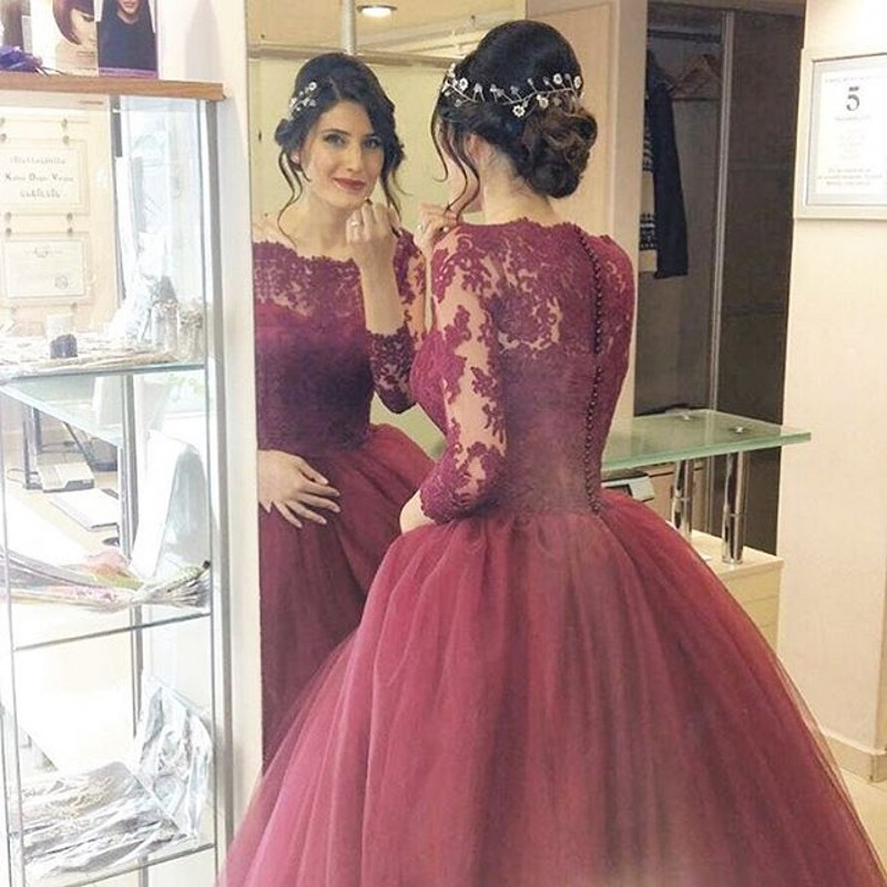 Buy new arrival burgundy wedding dresses for Lace three quarter sleeve wedding dress