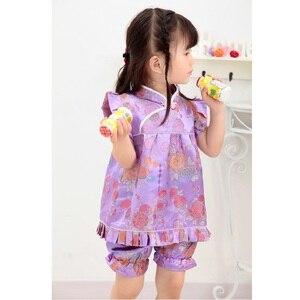 Image 5 - Hooyi mavi Çiçek bebek kız giysileri takım elbise moda Çocuk Giyim seti Bebek yaz kıyafetleri Jumper takım elbise Qipao