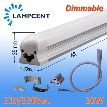 T8 LED Integrated Tube Dimmable Light 4FT 20W Surface Mount 110/220V 2-108Pack