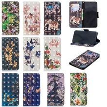 IMIDO Filp Leather Case For iPhone XS MAX Cute Flamingo Painted Wallet Card TPU Back Cover X XR 8 7 6 6S Plus Coque