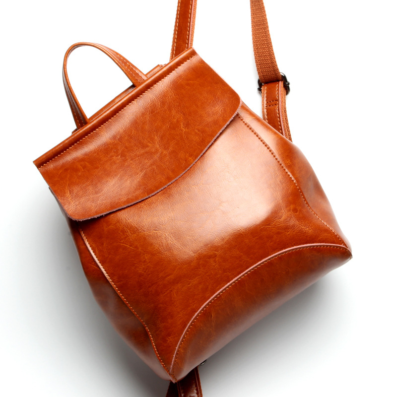 Beautiful Oil Wax Leather Women backpack New fashion Travel Backpack Korean Simple Vintage Style Genuine Leather Bag zency summer genuine oil wax cow leather women ladies backpack cowhide designer korean style fashion ladies girl bag mochila