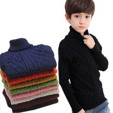 Children Baby Boys Girls Turtleneck Sweater Stripe Cross Knitwear Autumn Winter Unisex Warm Bottoming Knitted Pullover 2-14T(China)