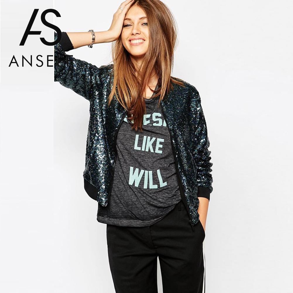 Anself Women Windbreaker Basic Sequin Coat Luxury Bomber Jacket Long Sleeve Zipper Streetwear Casual Loose Glitter Top Outerwear semi formal summer dresses