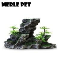 MERLE PET Decorative Rocks Landscape Rockery Ornaments Aquarium Decoration Fish Tank Cave Stone Accessories Free Shipping G07082