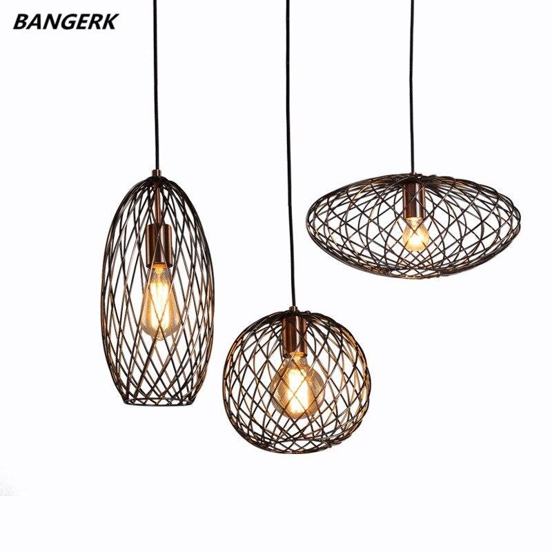 Nordic Design Loft Edison LED Pendant Light Iron Retro Hanging Lamp Industrial Lights Pendant Lighting For