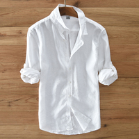 2019 New Arrival Linen Blusas Masculina Long Sleeve Good Quality Camisa Hombre