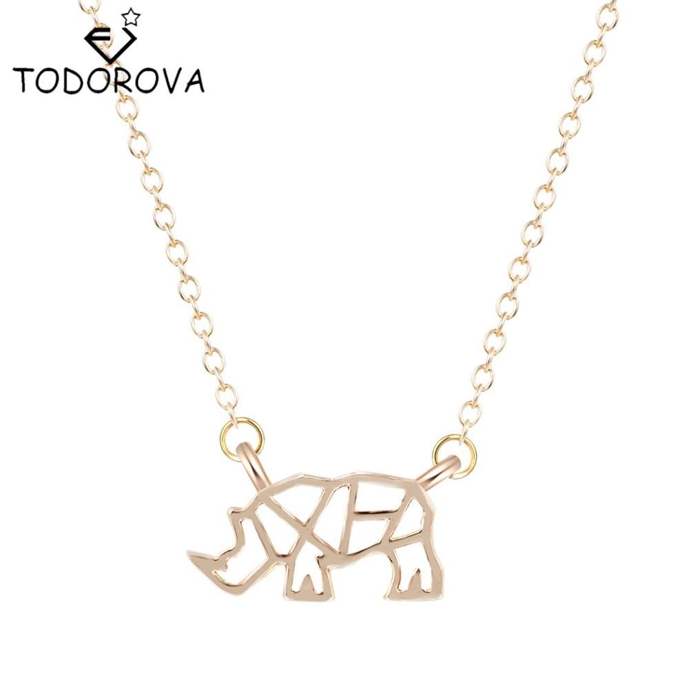Todorova Origami Rhinoceros Pendant Necklace Animal Rhino
