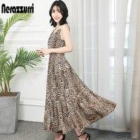 Nerazzurri Leopard Print fit and flare dress spaghetti strap suspender pleated maxi summer long plus size sundress women 2019