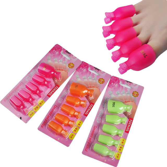 5pcsset 5 Colors Nail Art Equipment Foot Toe Plastic Nail Polish