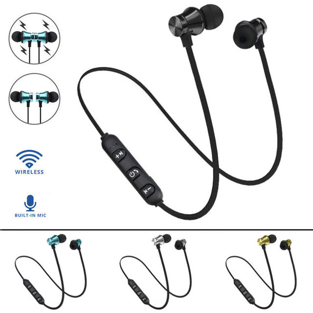 Magnetic Bluetooth Earphone V4.2 Stereo Sport Waterproof Headset Wireless in-ear Earbuds with Mic for iPhone Samsung Xiaomi