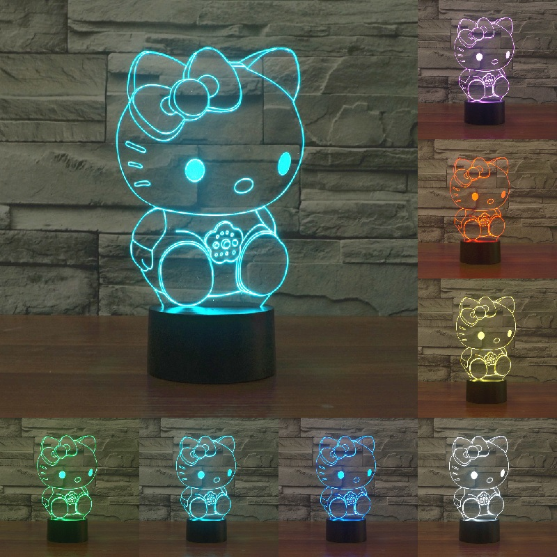 Novelty Hello Kitty 3D Lamp 7Colors Changing LED Night Light Touch Change Colors Decorative Table Lamp