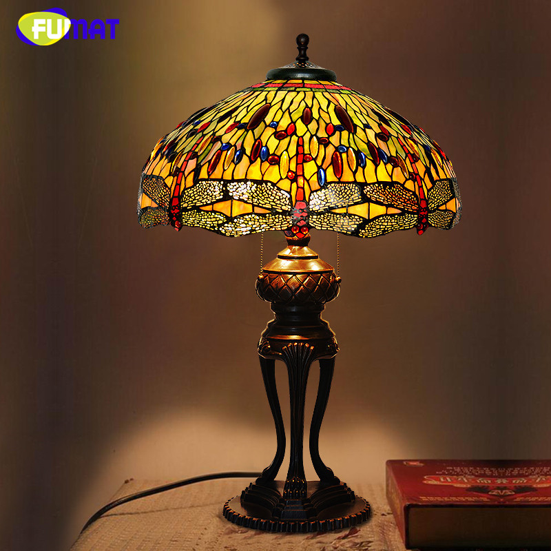 FUMAT Stained Glass Table Lamp Antique Dragonfly Living ...
