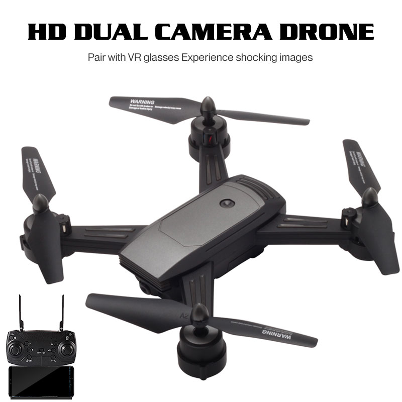 Lensoul Drone WiFi FPV 720 P double caméra HD prise de débit optique geste Selfie contrôle de la lumière cardan Stable quadrirotor cadeau