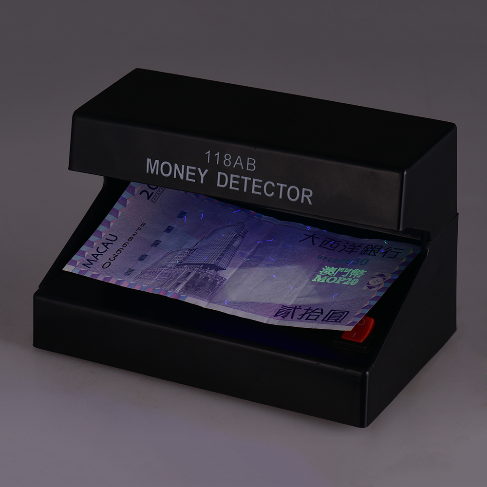 Money Detector Mini Desktop Multi-Currency Counterfeit Cash Currency Banknote Checker Tester Single UV Light With ON/OFF Switch