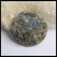 Best Gift Natural Round Shape Carving Flower Vintage Flashy Labradorite Gemstone Cabochon 51x5mm 19 7g