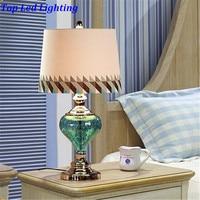 Mediterranean Sky Blue Crystal Glass Fabric PVC Led E27 Table Lamp for Wedding Decor Bedroom Living Room AC 80 265V 1202