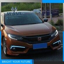 Спереди светодиодный вождения Дневной Бег света для Honda Civic 10th 2016 2017 с желтым Включите туман лампы ДРЛ