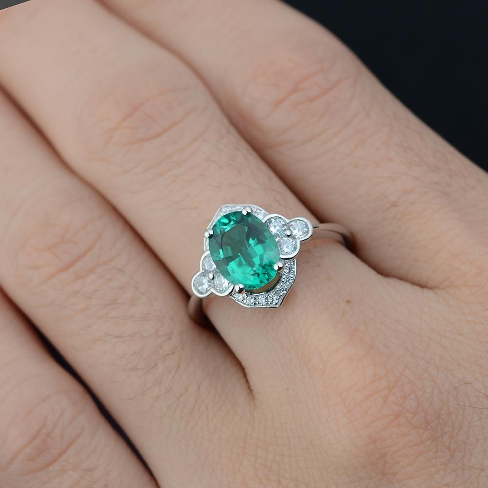 Leige Jewelry Silver Emerald Ring for Women Oval Cut  Wedding - Fine Jewelry - Photo 2