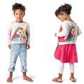Inverno camisola de malha da menina 2017 do bebê da menina cardigan antes e depois pode usar crianças knited camisola papagaio dos desenhos animados meninas camisola