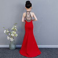 Роскошное длинное платье русалки с цветочным узором для девочек, свадебное платье принцессы, красное вечернее платье с бусинами для девоче