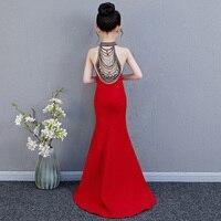 Роскошные Русалка Длинные платье с цветочным узором для девочек свадебное платье принцессы красный Бисер вечерние Детское платье для дево
