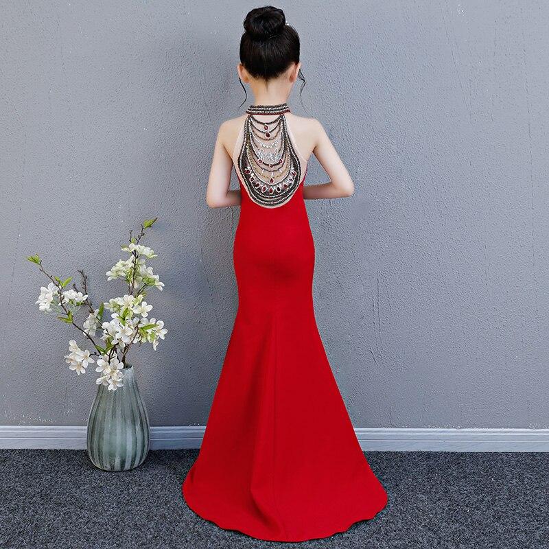 Luxury Mermaid Long Flower Girl Dress Wedding Princess Dress Red Beading Evening Kids Girls Dress for Birthday Party Show Gowns