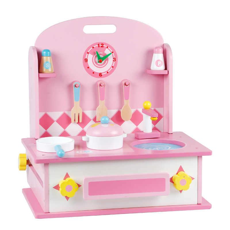Новый деревянный детский кухонный и туалетный столик два в одном набор для детской игрушки