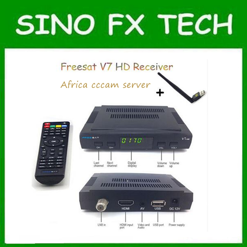 Freesat V7 HD powervu Satellite TV Receiver DVB-S2 with 3months free Africa CCCam account stable on starsat 5E i box rs232 dvb s satellite smart sharing nagra 3 dongle black