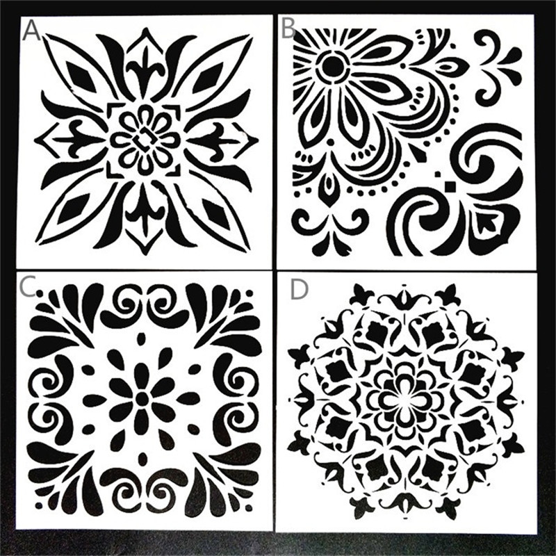 DIY Painting 15*15cm DIY Decor Vintage Floral Art Stencil Template For Tile Furniture Floor Painting Decor