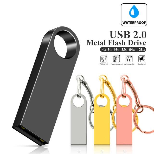 Usb Flash Drive Pendrive 32GB 64GB 16GB 8GB 128GB Pen Drive Waterproof Metal Silver U Disk Memoria Usb Cle Memory Usb Stick Flas