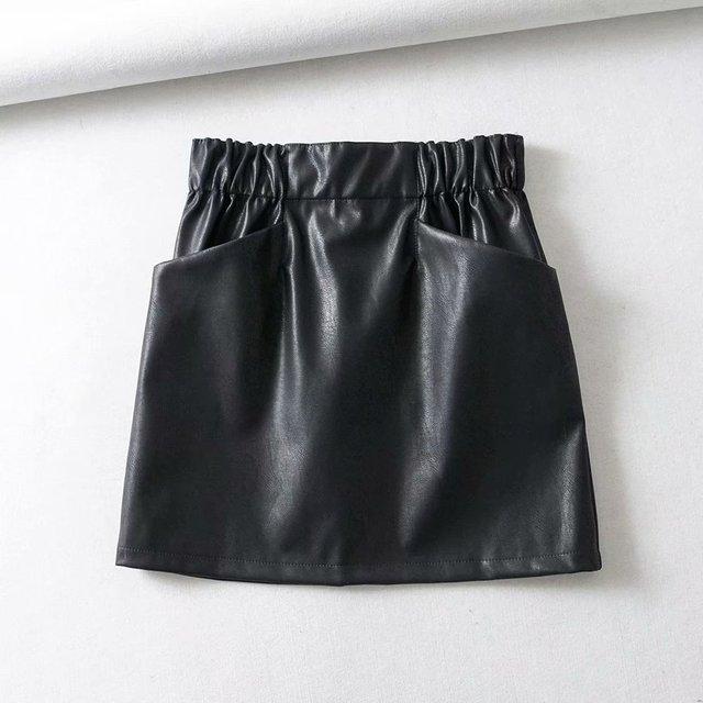Women Skirts  Above Knee Mini Women's double pocket elastic waist PU Faux leather skirt Jupe Femme Faldas Mujer 2