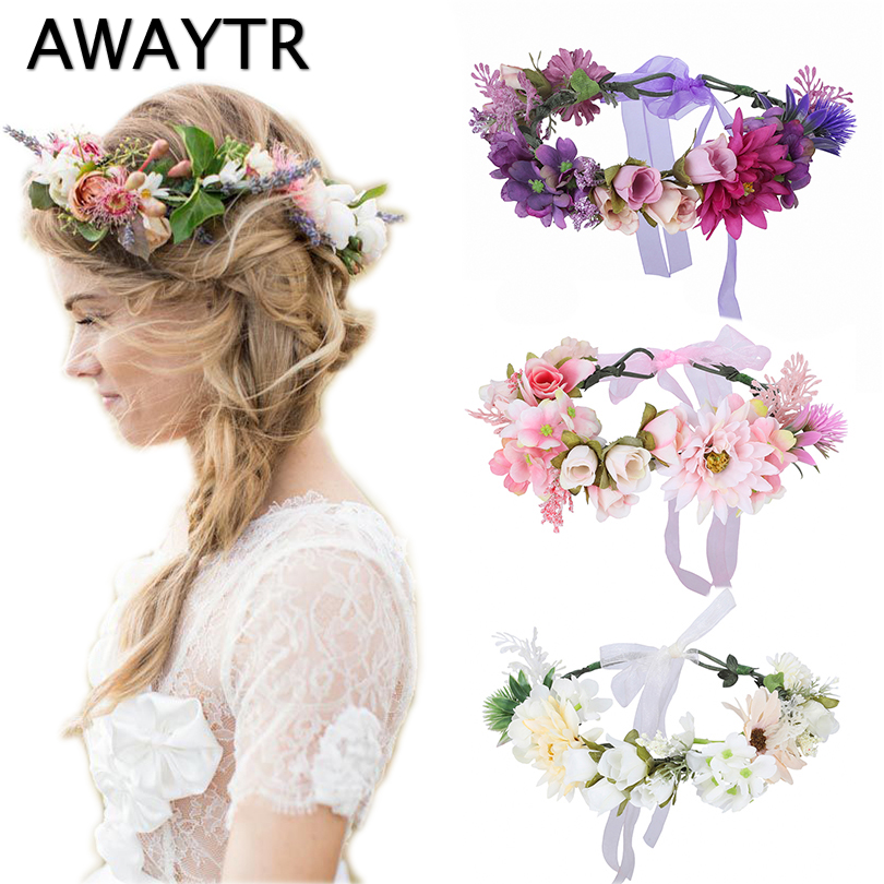 AWAYTR New Wreath Women Flower Headband Wedding Hair Accessories Girls Floral Crowns Boho Style Bride   Headwear   Fashion Hairband