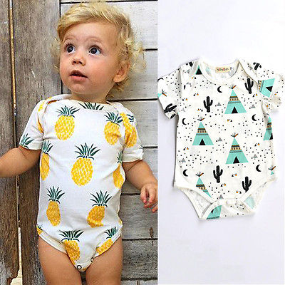 Emmababy Newborn Baby Boy Girl Fruit   Romper   Jumpsuit Pajamas Outfit Clothes Short Sleeve Pineapple Summer Cotton Toddler Kid