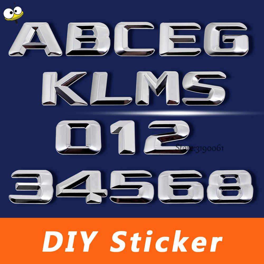 Araba aksesuarları numarası mektup kendi başına yap çıkartma araba Sticker amblem rozeti Mercedes Benz A200 C200 E300 S320 W203 GLA200 SL280 ML63