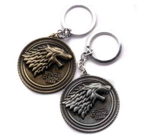 "Game Of Thrones House Stark Keychain Direwolf Badge Keyring Metal Jewelry Silver Bronze 2""High Quality Little Gift"