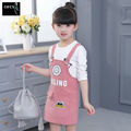 2017 FASHION Girl Dress Shoulder-Straps Spring Autumn two-piece Dress Long Sleeves Cotton Cartoon Print dresses Children's Sets
