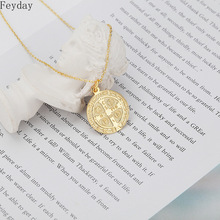 Vintage Jesus Cross Coin Pendant Choker Necklaces Simple S925 Sterling Sliver Chain Necklace for Women Fashion Jewelry