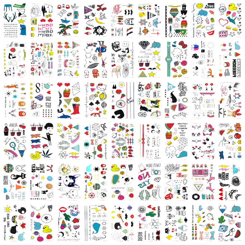 54pcs/set Temporary Tattoo Sticker Cute Cartoon Kids Tattoo Clock Chips Animal Design Fake Tattoo Girl Children Tatouage Enfant