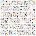 54 шт./компл. Временные татуировки-наклейки Стильная футболка с изображением персонажей видеоигр детская Татуировка часы чипы дизайн с изоб...