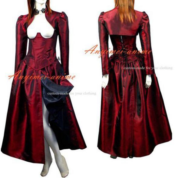 O robe l'histoire de O avec soutien-gorge Tafetta robe Costume Cosplay sur mesure [G430]
