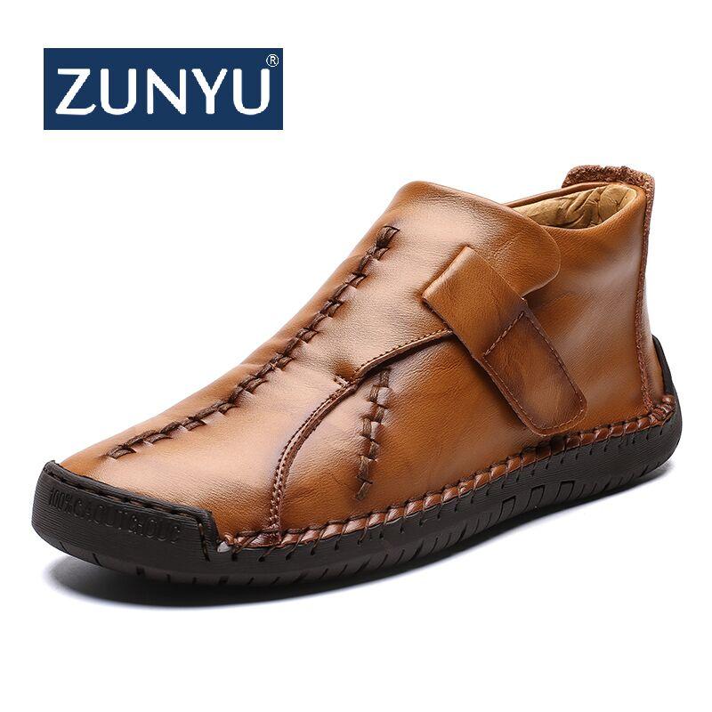 ZUNYU Comfortable Men Ankle Boots Quality Split Leather Shoes Men's Snow Boots Winter Shoes Keep Warm Fur Man Boot Shoes Size 48